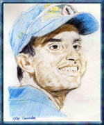Sourav Ganguly - Portrait Sketch
