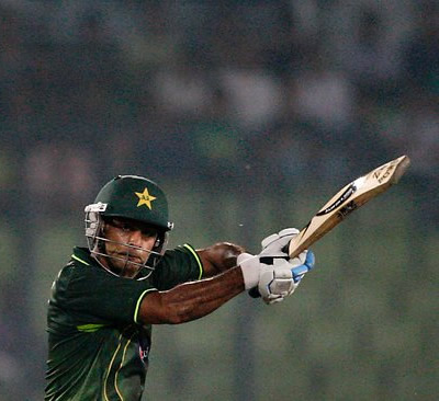 Pakistan's Mohammad Hafeez plays a cut shot