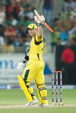 David Warner celebrates after completing his blazing fifty