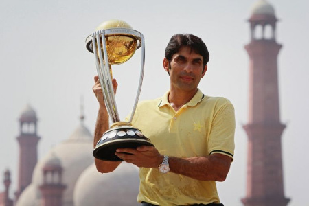 Misbah-ul-Haq with the World Cup Trophy