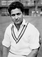 Portrait of Hanif Mohammad, the original 'Little Master' and father of cricket in Pakistan. Aged 81, he died in Karachi, his home town, on 11 August 2016