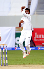 Devendra Bishoo about to bowl during the 1st Day/Night Test, Pakistan v West Indies, Dubai Sports City Stadium, Dubai, 13th, 14th, 15th, 16th, 17th October 2016